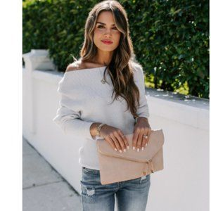 JULIA Off Shoulder Thermal Knit Sweater